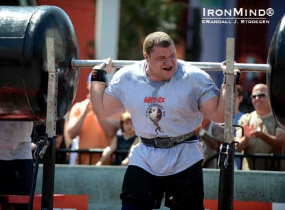 Usually stoic, Vytautas Lalas broke into a smile as he completed his successful attack on the squat at the World's Strongest Man contest today.  IronMind® | Randall J. Strossen photo.