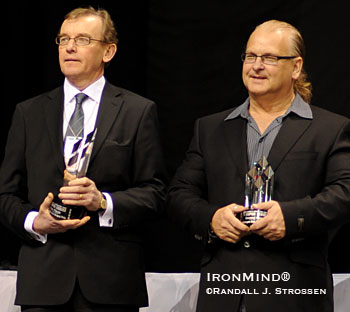 Lennart Blomberg, managing director of Eleiko (left), and Ulf Bengtsson (right), founder and president of World Class Enterprises, which organizes WSM Super Series, get ready to present the trophies at the 2008 Mohegan Sun Grand Prix. IronMind® | Randall J. Strossen, Ph.D. photo.