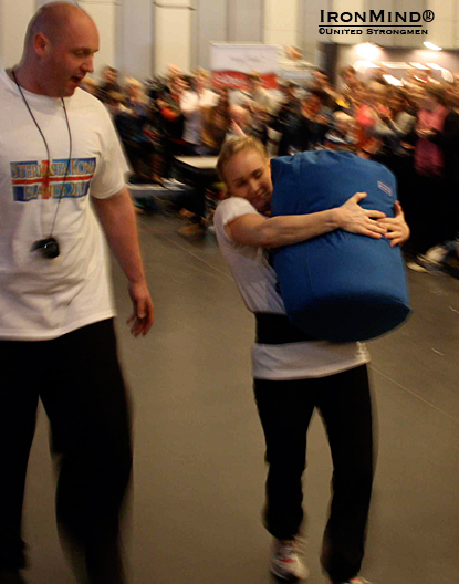 Lilja Rut Jónasdóttir in the sack race.  IronMind® | Courtesy of United Strongmen.