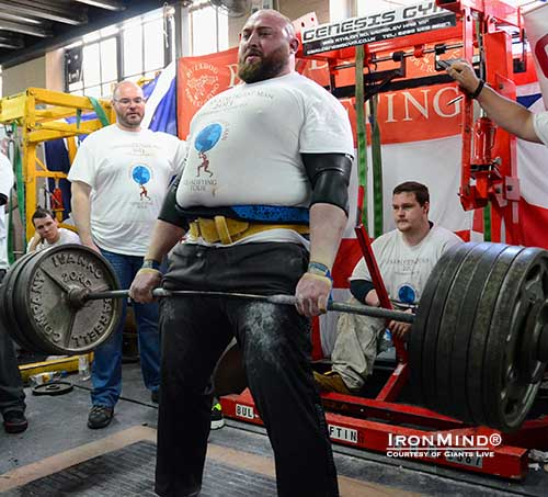 Lloyd Renals does an easy 10 reps with 270 kg on his way to winning the Giants Live Strongest Man in London contest.  Giants Live organizes the official qualifying tour for the World's Strongest Man contest.  IronMind® | Courtesy of Giants Live.