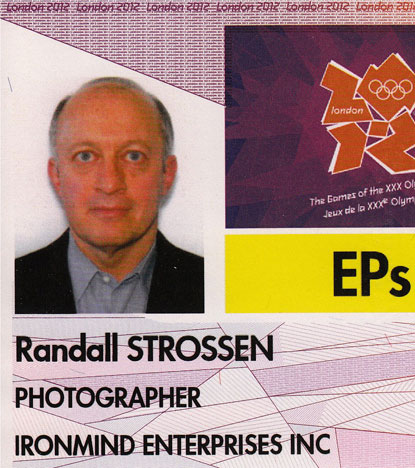 IronMind boss Randall Strossen will be in London to photograph the Olympic weightlifting competition for IronMind and its quarterly strength world journal MILO.  It should go without saying that it was quite a thrill when the Olympic Identity and Accreditation Card arrived at IronMind headquarters last week.