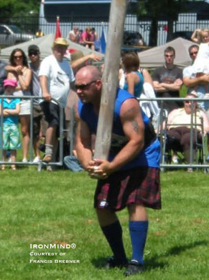 Lyle Barron on the caber at the 45th Halifax Highland Games.  IronMind® | Photo courtesy of Francis Brebner.