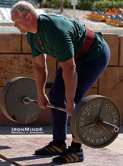 Magnus Samuelsson warms up with some deadlifts at the 2004 World's Strongest Man contest.  IronMind® | Randall J. Strossen photo.