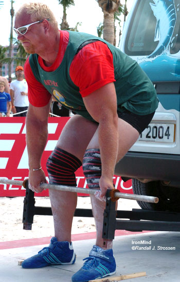 World's Strongest Man winner Magnus Samuelsson has hands that close the No. 4 Captains of Crush® gripper, arms that bench around 300 kg (no shirt) and a back that sometimes just does not do what he wants it to do. IronMind® Randall J. Strossen, Ph.D. photo.