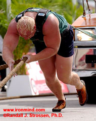 With the size and strength of his arms, when Magnus Samuelsson digs in on the truck pull, it's as if he has 4-leg drive, which might be why he won this event in the 2004 MET-Rx World's Strongest Man contest. IronMind® | Randall J. Strossen, Ph.D. photo.