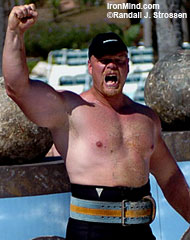 The King in his Court at the 2004 World's Strongest Man contest: Magnus Samuelsson, one of the world's top stone lifters, will be at the Mohegan Sun Grand Prix on June 1. IronMind® | Randall J. Strossen, Ph.D. photo.