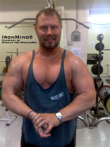 From World's Strongest Man to masters' bodybuilding?  Four-time World's Strongest Man winner Magnus Ver Magnusson hits a pose in the gym last week.  IronMind® | Photo courtesy of Magnus Ver Magnusson.