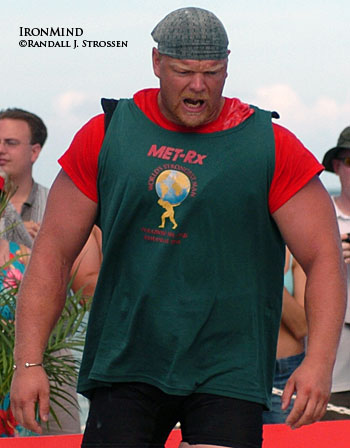 Magnus Samuelsson, getting ready to squat at the 2004 World's Strongest Man contest. Magnus, who won the contest in 1998 and has been on the podium a few more times as well, says that he is really looking forward to this year's competition. IronMind® | Randall J. Strossen, Ph.D. photo.