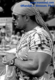 Manfred Hoeberl and his two-foot arms: In 1994, IronMind® sent its ace MILO team over to Scotland to cover the European Muscle Power Championships and the World Muscle Power Championships - it was another IronMind® first and a wave of interest in strongman followed. Dashing, outgoing and a top performer, Manfred Hoeberl immediately impressed us as he won both contests. IronMind® | Randall J. Strossen, Ph.D. photo.