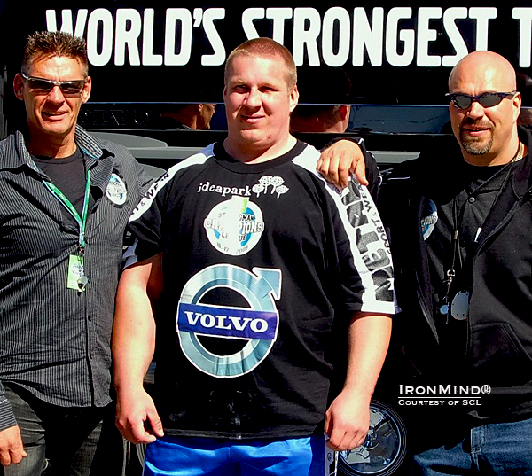 SCL founders Marcel Mostert (left) and Ilkka Kinnunen (right) flank SCL season champion Andrus Murumets (center).  Incidentally, Mostert calls Andrus Murumets Mr. Grip for good reason: Andrus Murmets is one of only three men in history to have certified on at the Captains of Crush No. 3, No. 3.5 or No. 4 gripper and held the world record on the Rolling Thunder.  In case your eyes swept over it, take a look at Andrus' right forearm.  IronMind® | Courtesy of SCL.