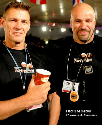 Marcel Mostert (left) and Ilkka Kinnunen (right) - the founders of Strongman Champions League, armed with caffeine, stop watches and whistles - ready to referee at Fortissimus earlier this year.  IronMind® | Randall J. Strossen photo.