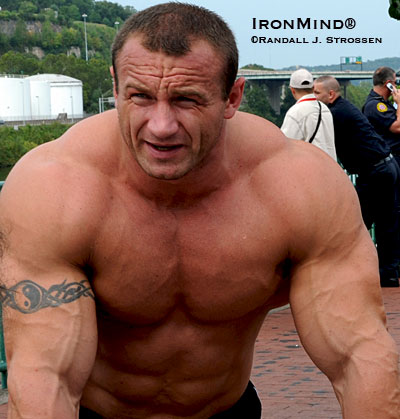 He had just won the first event at the 2008 MET-Rx World's Strongest Man contest, silencing the critics who said Mariusz Pudzianowski was too injured to carry on. Two days later, Mariusz won his fifth World's Strongest Man title, becoming the first man ever to achieve this distinction. IronMind® | Randall J. Strossen photo.