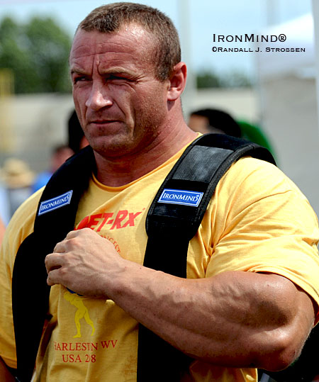 His mere presence is a game changer in strongman - he draws in fans like a magnet and makes most competitors assume they are competing for second place at best. When Mariusz Pudzianowski won the 2008 MET-Rx World's Strongest Man contest, he made strongman history, again. IronMind® | Randall J. Strossen photo.