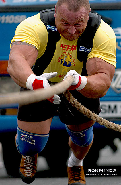 5X World's Strongest Man winner Mariusz Pudzianowski told IronMind® that he's not quite ready to hang up his harness yet.  IronMind® | Randall J. Strossen photo.