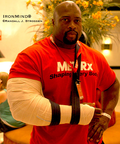 As he was standing around in the hotel lobby at the 2008 MET-Rx World's Strongest Man contest, someone kidded Mark Felix that he was just using the cast to make his arm look even bigger, but what is not a joke is the damage Mark can do to the Rolling Thunder® with his left hand as well as his right. Read on and it's your choice: either weep or train harder if you thought this would be your year to catch Mark. IronMind® | Randall J. Strossen photo.