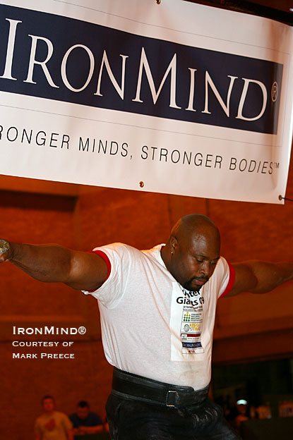 Mark Felix won the IronMind® Hercules Hold at the Winter Giants strongman contest.  Check out the forearms on the Rolling Thunder world record holder.  IronMind® | Photo courtesy of Mark Preece.