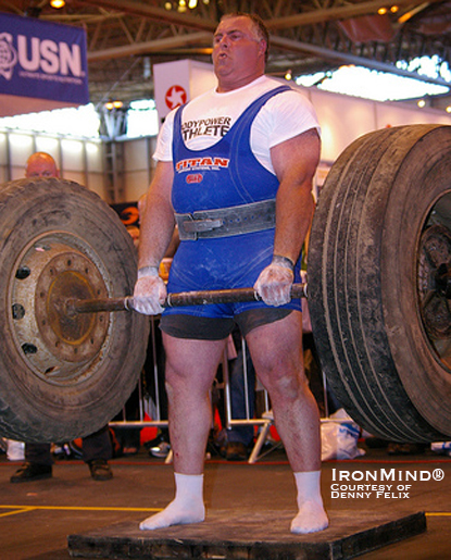 Mark Westaby won the strongman contest at the 2010 Bodypower Expo, thereby earning an invitation to the Strongman Champions League - Ireland competition.  IronMind® | Photo courtesy of Denny Felix.