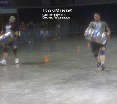 Mike Jenkins (left), who won the Amateur Strongman World Championships at the 2010 Arnold, and Marshall White (right) are in the top two spots at the 2010 NAS/ASC Pro USA National Championships after the first day of competition.  IronMind® | Photo courtesy of Dione Wessels.