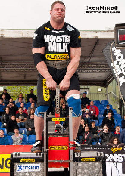 "Martin Wildauer shown on the Bavarian Deadlift: ""He won it now four years in a row,"" Heinz Ollesch told IronMind.  ""With 325 kg, [he] pulled [it] up to 100 cm.""  IronMind® 