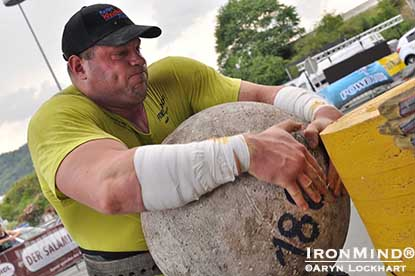 Martin Wildauer loading the 180-kg stone at the Austrian Giants strongman contest.  IronMind® | Photo by Aryn Lockhart.