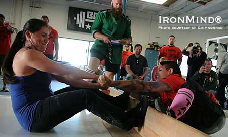 Irma Esquivel (left) versus Sonya del Gallego (right) at the Boss of Mas Wrestling Tournement held at Dan Green's Boss Barbell Club in Mountain View, California.  IronMind® | Photo courtesy of Chip Conrad