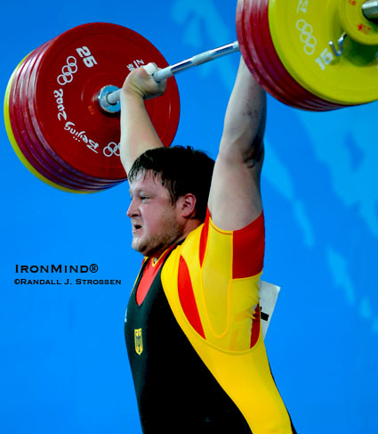 This last attempt 258-kg clean and jerk gave Germany's Matthias Steiner the super heavyweight gold medal in weightlifting at the 2008 Olympics.  IronMind® | Randall J. Strossen photo.