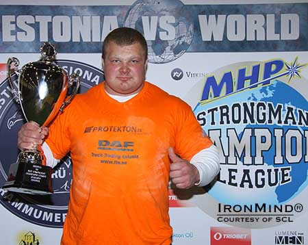 Meelis Peil (Estonia), the new SCL star won the individual title at MHP Strongman Champions League–Estonia.  IronMind® | Photo courtesy of SCL
