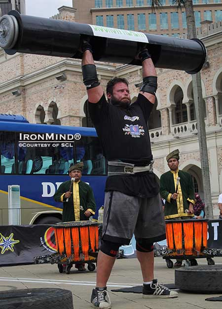 Mike Burke, shown on the Log Lift at the 2013 SCL Grand Finale in Kuala Lumpur, is headed to Shanghai.  IronMind® | Photo courtesy of SCL