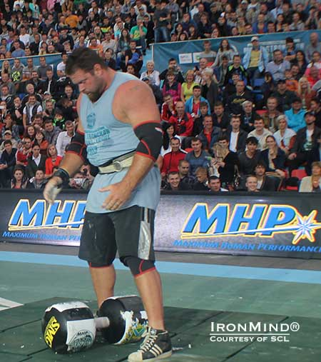 Coming off his strong performance at the World's Strongest Man contest last month, Mike Burke beat everyone but Zydrunas Savickas at the 2013 MHP Strongman Champions League–Russia competition.  IronMind® | Image courtesy of SCL