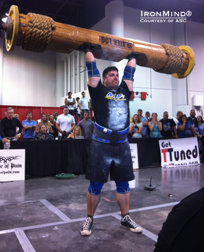 Mike Caruso hits hits a 410-lb. Log Lift at the Olympic Strongman Challenge.  IronMind® | Courtesy of ASC/Dione Wessels.