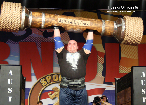 New for this year was the Austrian Oak—a log press from stands—which won by Mike Jenkins, who also took the title.  IronMind® | Courtesy of United Strongmen™.