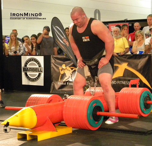 Mike Jenkins (above) and Nick Best tied in Giant Red Rocket Lift, both succeeding with 1150 to jointly hold the hip lift world record, Bill Lyndon reported to IronMind.  IronMind® | Photo courtesy of Aussiepower.biz.