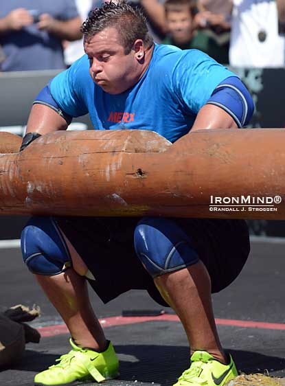 Mike Jenkins about to pop a 220-kg log at the 2012 World's Strongest Man contest.  IronMind® | Randall J. Strossen photo.