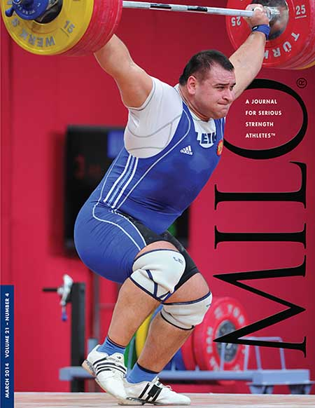 """The go-ahead lift in the +105-kg category at the 2013 World Weightlifting Championships: it turned out that this 209-kg snatch gave Ruslan Albegov (Russia) the margin he needed for victory over a hard-charging Bahdor Moulaei (Iran).  Albegov got the weight overhead strongly, but then he had to take two quick steps forward to save the lift as he stood up.""  MILO: A Journal For Serious Strength Athletes, March 2014 (Volume 21, Number 4).  IronMind® 