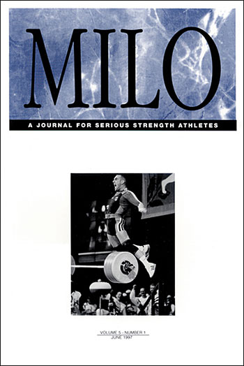 "The caption for the cover of MILO® Vol. 5, No. 1 reads: ""Marc Huster (GER) celebrates his 213.5-kg world record clean and jerk in the 83-kg category at the 1996 Olympic Games (Atlanta). We once asked high-spirited Marc if he ever considered a second career as a high jumper. He said, ""Maybe a kangaroo."" IronMind® 