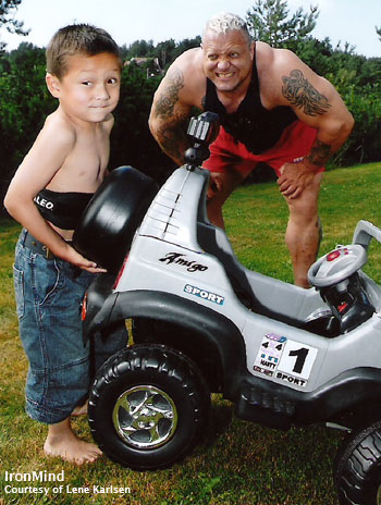 Svend Alexander Karlsen, aka Mini Viking, gives his car a little air time while his dad, Svend Karlson, 2001 World's Strongest Man winner, cheers him on. Looks like Mini Viking is having an easier time of it than Maxi Viking. IronMind® | Photo courtesy of Lene Karlsen.