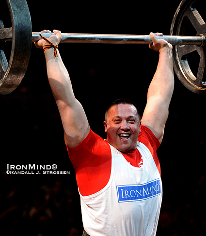 He's strong at just about everything and tonight, Russian strongman Misha Koklyaev is going to put on quite a show in Glasgow.  IronMind® | Randall J. Strossen photo.
