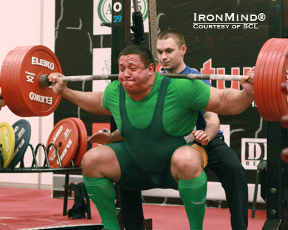 Mikhail (Misha) Koklaev squatted 340 kg on his way to winning the raw WPC European Championships.  IronMind® | Photo courtesy of SCL.