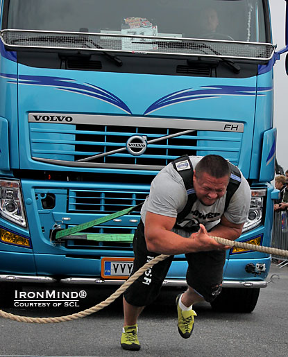 Misha Kokylaev won the truck pull at SCL–Finland and pressured Zydrunas Savickas to the very end of the contest—coming in second to the Big Z marked a big return to strongman for Koklyaev.  IronMind® | Courtesy of SCL.