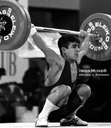 Halil Mutlu nailed this 130-kg snatch while competing in the 54-kg bodyweight class at the 1995 World Weightlifting Championships (Guangzhou, China).  IronMind® | Randall J. Strossen photo.
