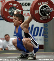 Lifting in the 62-kg category, Halil Mutlu (Turkey) nailed this 140-kg snatch at the 2005 European Weightlifting Championships (Sofia, Bulgaria). IronMind® | Photo by Randall J. Strossen, Ph.D.