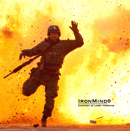 Strength athlete Nick McKinless wanted to become a stuntman, and that's just what he did.  IronMind® | Still from Coriolanus courtesy of Larry Horricks