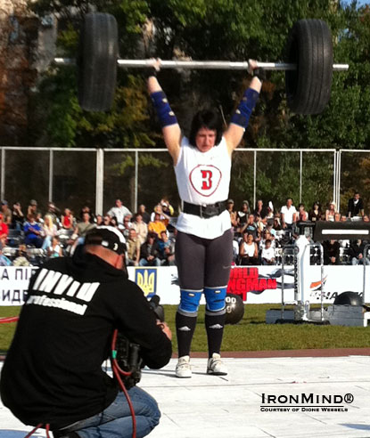 Nina Gerya (Ukraine) won six of the eight events on her way to the overall victory at the World's Strongest Lady competition at the World Strongman Fest 2011 held in the Ukraine.  IronMind® | Courtesy of Dione Wessels.