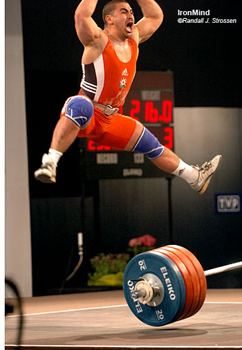 Weightlifting is a naturally exciting sport and David Goldstrom sees large, as yet untapped, potential in terms of television coverage. Here, Nizami Pashaev (Azerbaijan) celebrates at the 2006 European Weightlifting Championships (Wadyslawowo, Poland). IronMind® | Randall J. Strossen, Ph.D. photo.