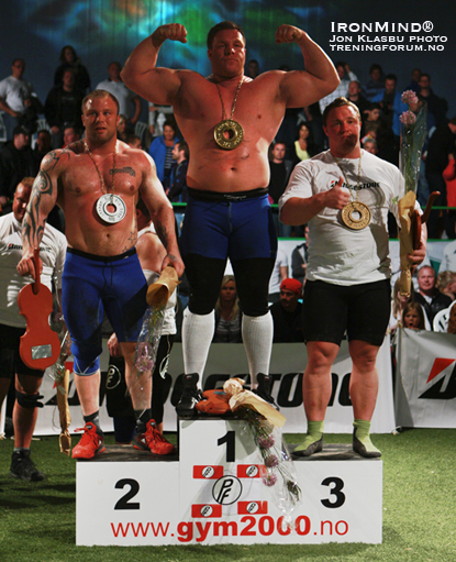 Here's the podium from the 2010 Norway's Strongest Man contest, where Richard Skog turned in a very impressive performance.  IronMind® | Jon Klasbu photo/treningforum.no courtesy of Viking Power Production.