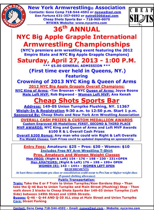 Got a strong arm?  Put it to good use at the 36th Annual Big Apple Grapple on April 27 at Cheap Shots Sports Bar in Flushing, New York.  IronMind® | Image courtesy of NYAWA.