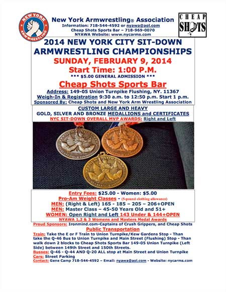 For 37 years, New York Armwrestling Association (NYAWA) has been dedicated to producing the best in armwrestling, and on February 9th the NYAWA will host the NYC Sitdown Armwrestling Championships at Cheap Shots Sports Bar in Flushing.  IronMind® | Artwork courtesy of NYAWA