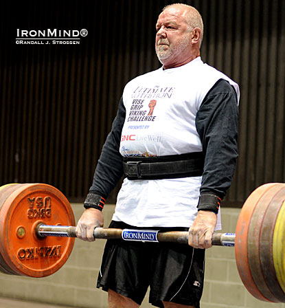 His beard is grey–his grip mighty–and on a age-adjusted basis, Odd Haugen is one of the baddest strongman competitors on the planet.  IronMind® | Randall J. Strossen photo.