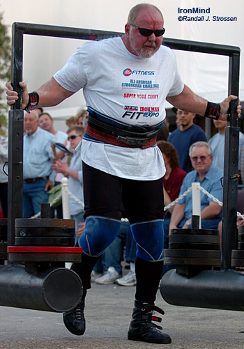 Trucking . . . Odd Haugen takes the Super Yoke for a ride at the All-American Strongman Challenge. Ford saw Odd and decided they had to have him for a commercial featuring their F-150 truck. IronMind® | Randall J. Strossen, Ph.D. photo.