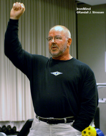 Odd Haugen, shown running a strongman seminar at the 2005 FitExpo, has some interesting plans for 2007. IronMind® | Randall J. Strossen, Ph.D. photo.